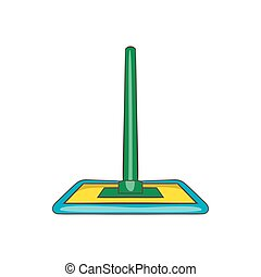 Floor cleaning mop icon, cartoon style