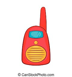 Red portable handheld radio icon, cartoon style - icon in...