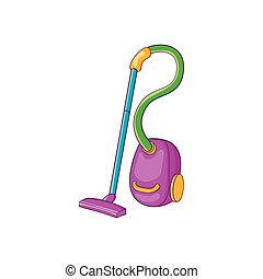 Colorful vacuum cleaner icon, cartoon style - icon in...