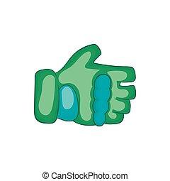 Green paintball glove icon, cartoon style