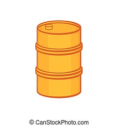 Orange barrel icon, cartoon style - icon in cartoon style on...