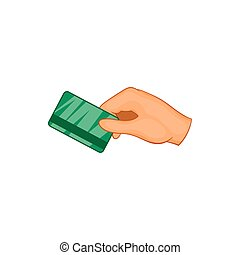 Hand with hotel room key card icon - icon in cartoon style...