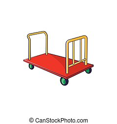 Baggage cart icon in cartoon style