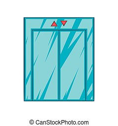 Elevator with closed door icon, cartoon style