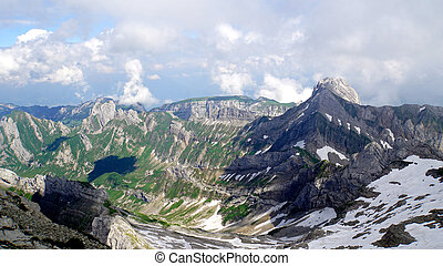 Alpstein-Massif - Mountain world in Switzerland, view from...
