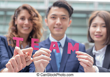 Business Teamwork concept - businesspeople happy show team...