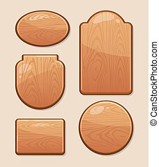 vector Set of wooden boards with diferent shapes. Empty...
