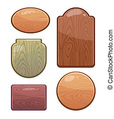 vector Set of wooden boards with diferent shapes, color....
