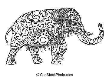 Indian elephant coloring pages template. Vector illustration