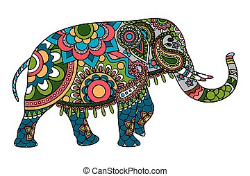 Colored doodle Indian elephant illistration isolated over...
