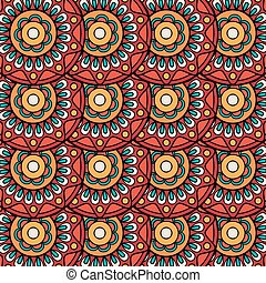 Ethnic boho floral rosettes seamless pattern. Vector...