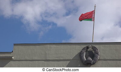 Flag of coat of arms Republic of Belarus - Waving flag over...