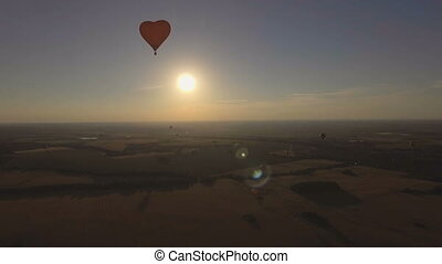 Hot air balloon in the sky over a wheat fieldAerial view -...