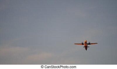 Flying Twin Engine Plane Taking Off or landing - Twin Engine...