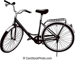 Old ladies bike - The old ladies bike is parked. drawn...