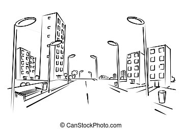 Sketch of city street.