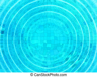 Blue tile background with concentric water ripples - Bright...