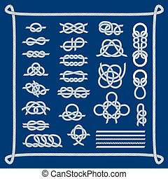 Sea boat knots vector set - Navy blue rope with marine knots...