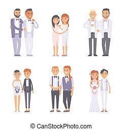 Wedding gay couples vector set. - Happy gay couple in...