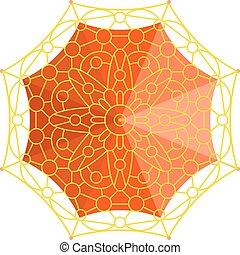 Umbrella top view vector illustration.