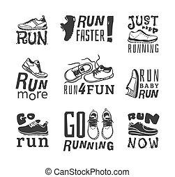 Running labels vector illustration - Set of running marathon...