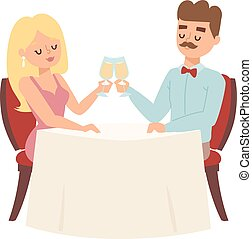 Dating couple in restaurant