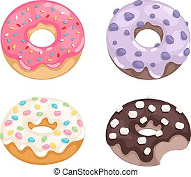 Donuts vector set - Set of cute sweet colorful donuts Brown...