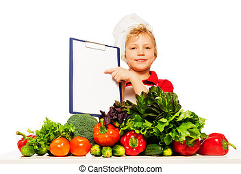 Kid boy in cooks uniform with menu - Kid boy in cooks...