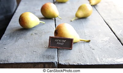 healthy food idea - inscription, and Juicy flavorful pears -...