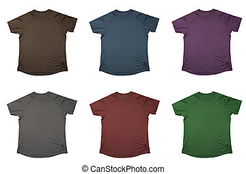Six t-shirts of different colors isolated over white