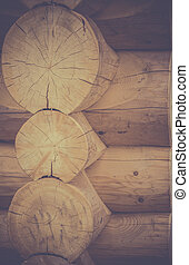 Corner joint on a log cabin - Image with the exterior of a...