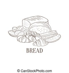 Bread And Pastry Still Life Hand Drawn Realistic Sketch