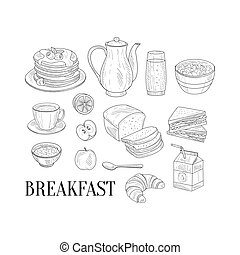 Breakfast Related Isoated Food Items Hand Drawn Realistic...