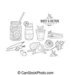 Fruit And Vegetables Diet Hand Drawn Realistic Sketch -...