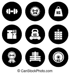 weight icons set - set of weight black isolated round icons