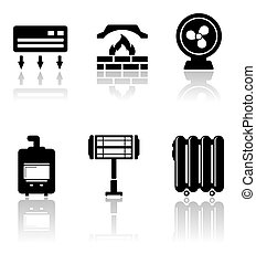heating and cooling icons - set of heating and cooling icons...
