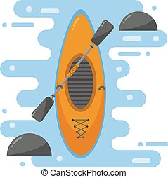 Kayaking boat vector illustration. - Top view of crossover...