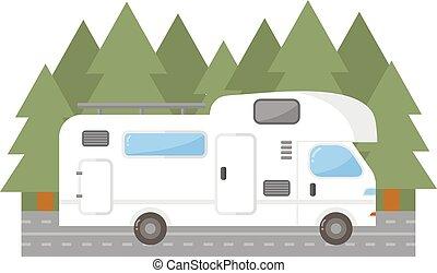 Travel trailer truck car vector illustration.