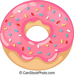 Donuts vector isolated - Cute sweet colorful donut Chocolate...