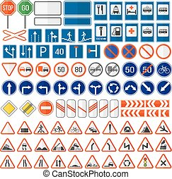 Road sign vector icon. - Different highly detailed and fully...