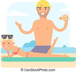 Male masseur vector illustration. - Masseur doing massage...