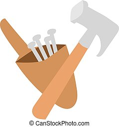 Hammer work tool vector - Work tool hammer and industry...
