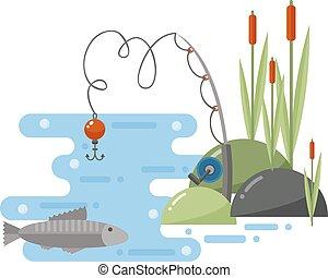 Fishing landscape vector iillustration. - Fishing landscape...