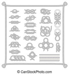 Sea boat knots vector set. - Navy blue rope with marine...