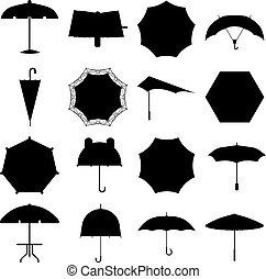 Umbrella vector illustration - Set of cute black umbrellas...