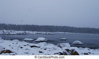 winter baltic sea costline in winter - swedeb baltic sea...