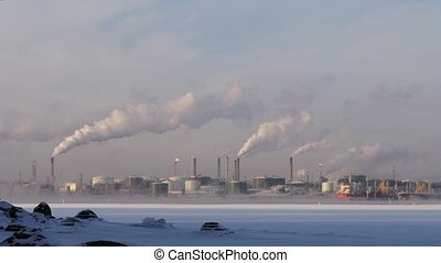 Metallurgical factory. Environmental contamination. Smoke...
