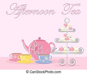 afternoon tea advert - a vector illustration in eps 10...