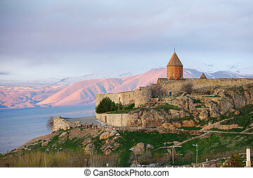 Ancient monastery in front of mountain - Ancient monastery...