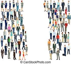 Personen und Gruppen.eps - two groups crowds, diversity